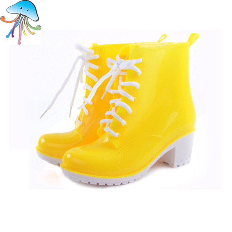 Fashion font b Women s b font Rain Boots Waterproof Jelly Color Female candy Martin Ankle