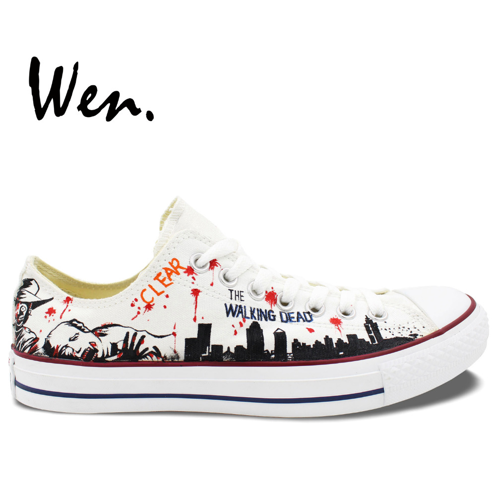 Wen White Hand Painted Casual Shoes Custom Design The Walking Dead Women Men's Low Top Sneakers Canvas Christmas Birthday Gifts wen blue hand painted shoes design custom shark in blue sea high top men women s canvas sneakers for birthday gifts