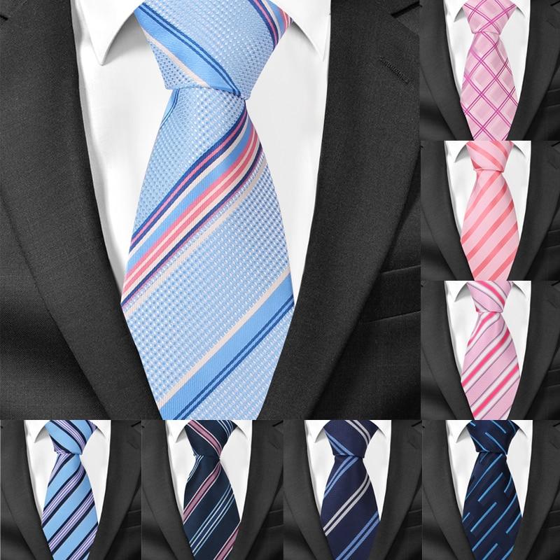 Men Ties Fashion Striped Neckties For Wedding Business 8cm Widtch Classic Necktie JACQUARD WOVEN Tie For Men Cravat Neck Tie
