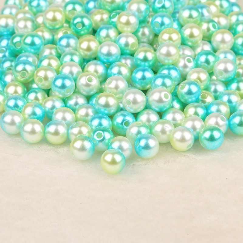 4 ملليمتر 6 ملليمتر 8 ملليمتر 10 ملليمتر السماء الزرقاء الضوء الأخضر جولة شكل البلاستيك ABS تقليد اللؤلؤ فضفاض الخرز DIY مجوهرات حلية جعل نتائج