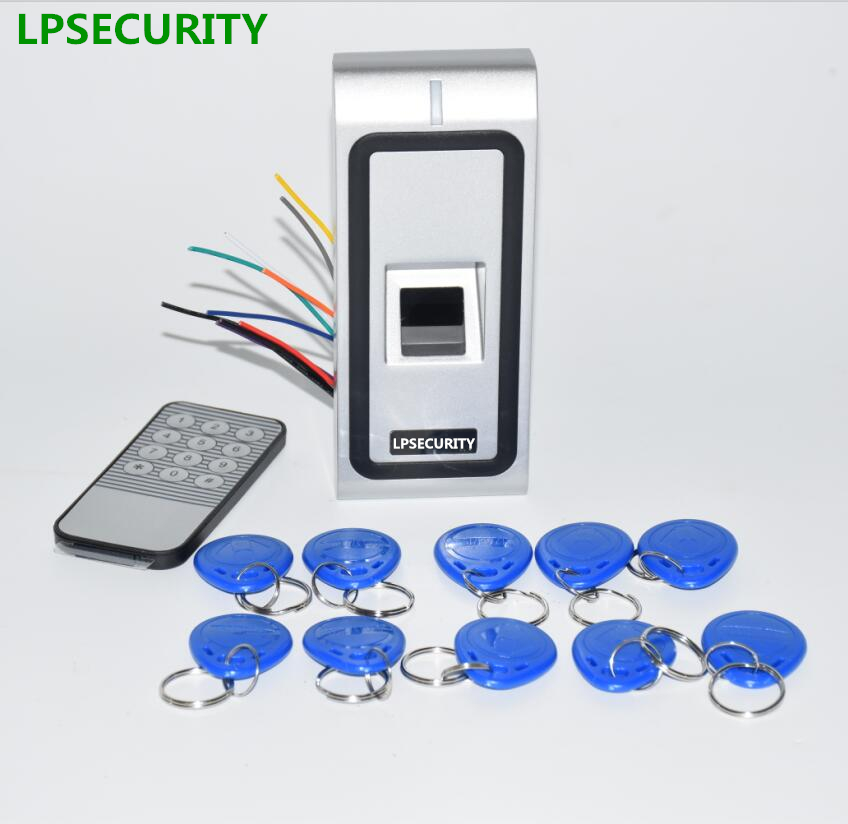 LPSECURITY Standalone metal Fingerprint Biometric access control system rfid 125khz reader door access control with 10 keyfobs biometric standalone access control rfid access control for building management system