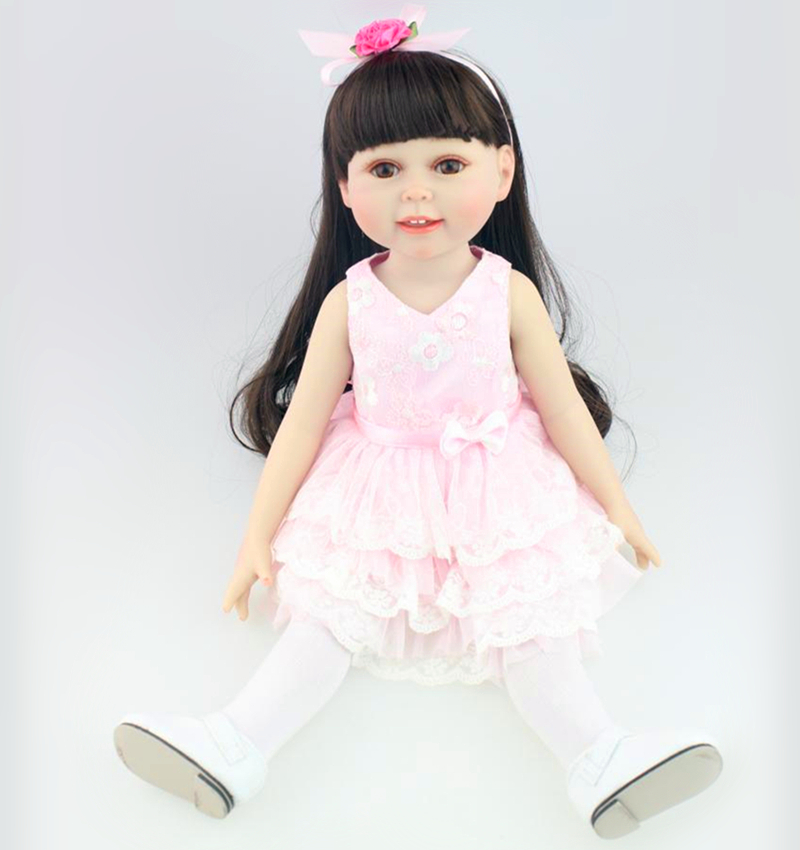 ФОТО 18 inch Full Vinyl American Girl Doll Cute and Adora Girls Birthday Gift Princess Gentle Touch Vinyl Dolls
