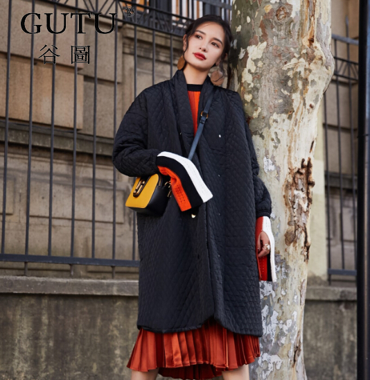 [GUTU] New Pattern 2017 Autumn Winter Fashion Black Turn-down Collar Long Sleeve Single Breasted Loose Coat Women M14301