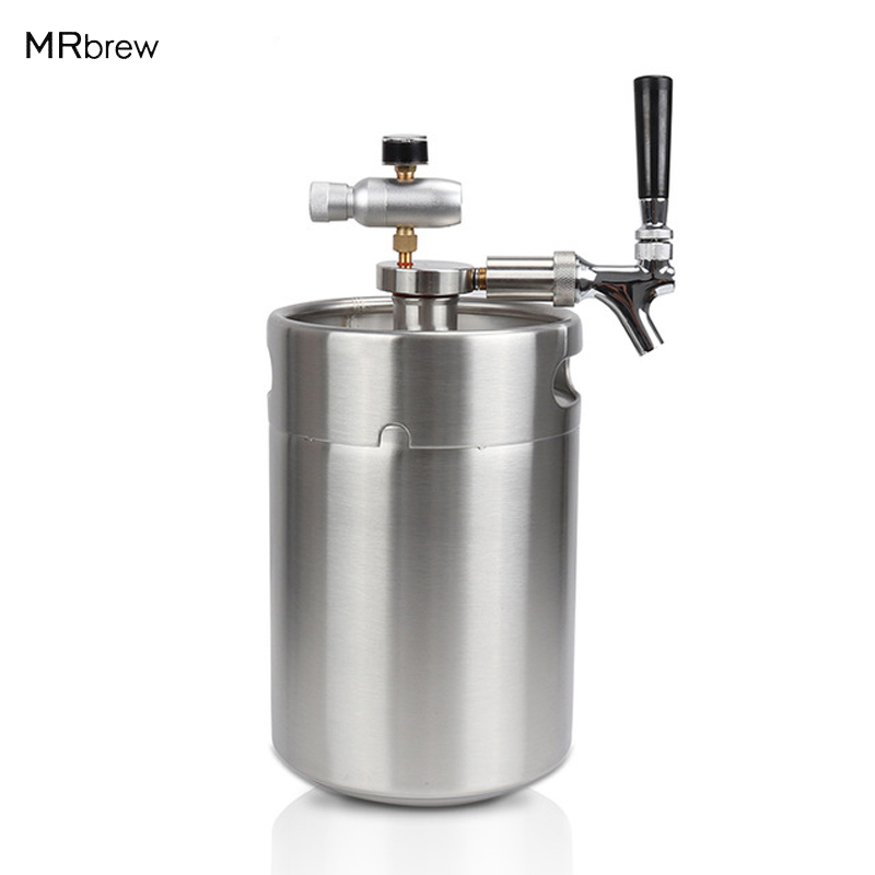 Homebrew 5L Mini Keg Beer Growler + Mini Beer Spear with Tap Faucet with CO2 Injector Premium