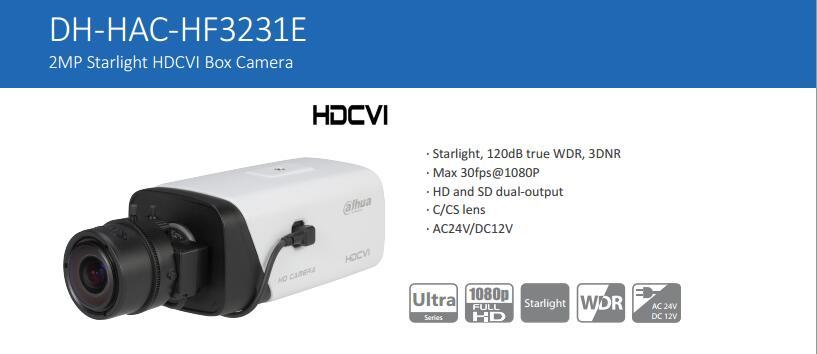 Free Shipping DAHUA CCTV Security Camera 2MP FULL HD Starlight HDCVI Box Camera Without Logo HAC-HF3231E