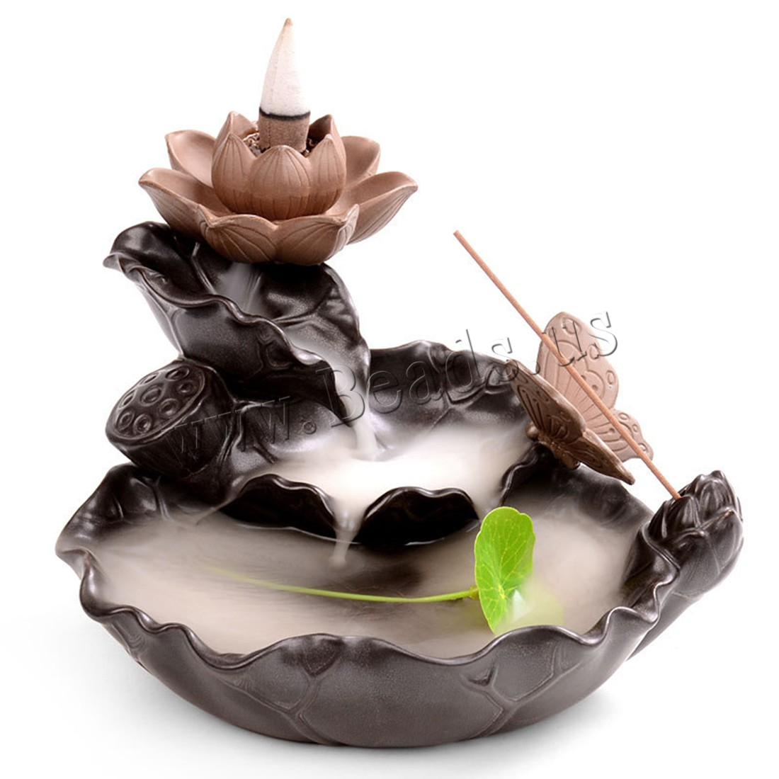 Creative Incense Burner Holder Ceramic Lotus Backflow Censer Smoke Waterfall Aroma Burner Decoration Use In Home Office Teahouse in Incense Incense Burners from Home Garden