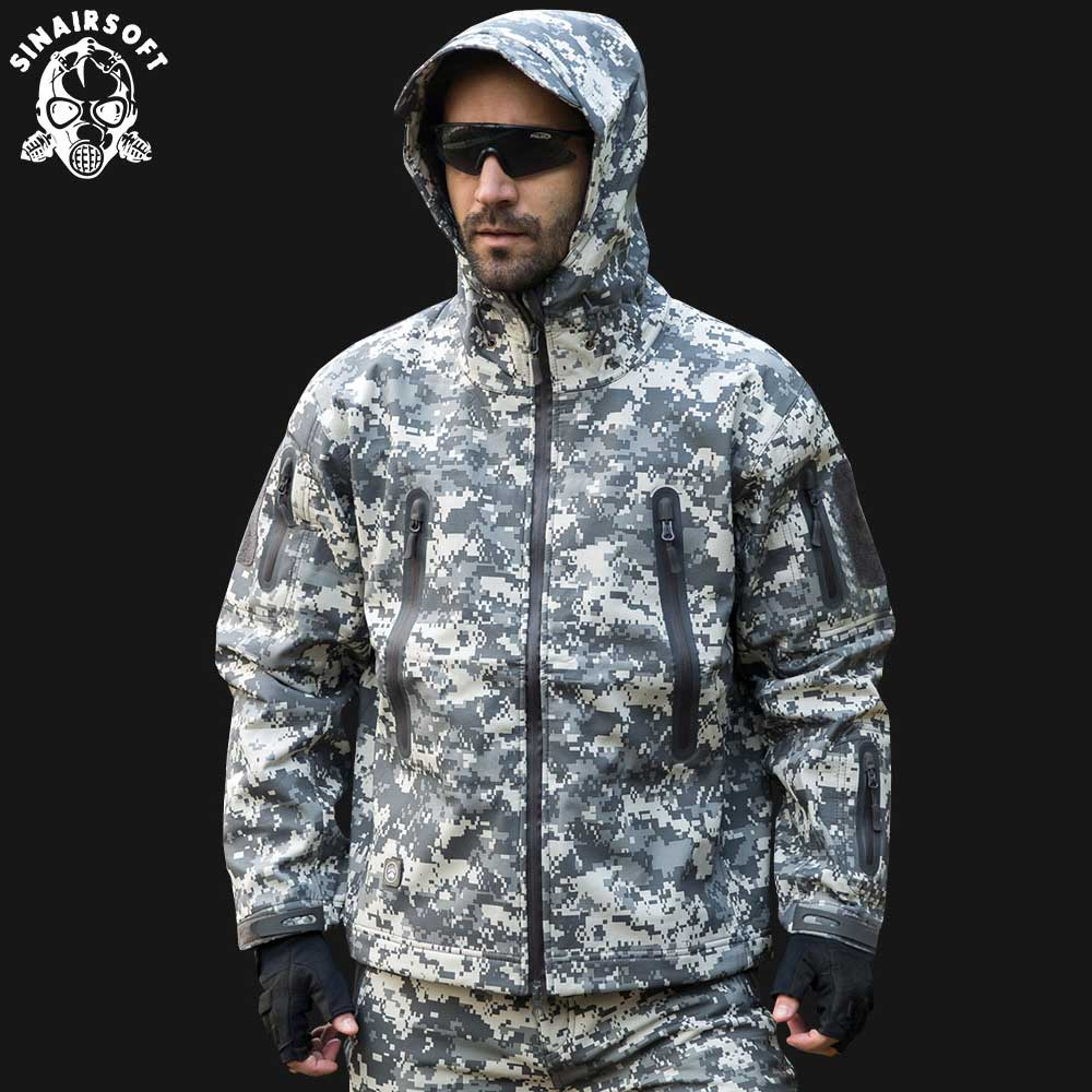 SINAIRSOFT New Shark skin Outdoor Hunting Camping Waterproof Windproof Polyester Coats Jacket Hoody Camouflage Army Clothing