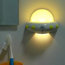 Norvelty LED Night Light With Motion Sensor UFO Shape Wall Lights Lamp For Kid Children Leds Bedside Corridor Lighting