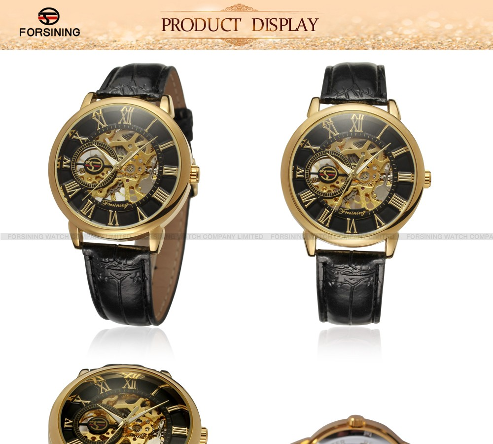 leather forsining products mechanical mens hour men watchband clock custom brand automatic watch product saat collections dress watches man image luxury