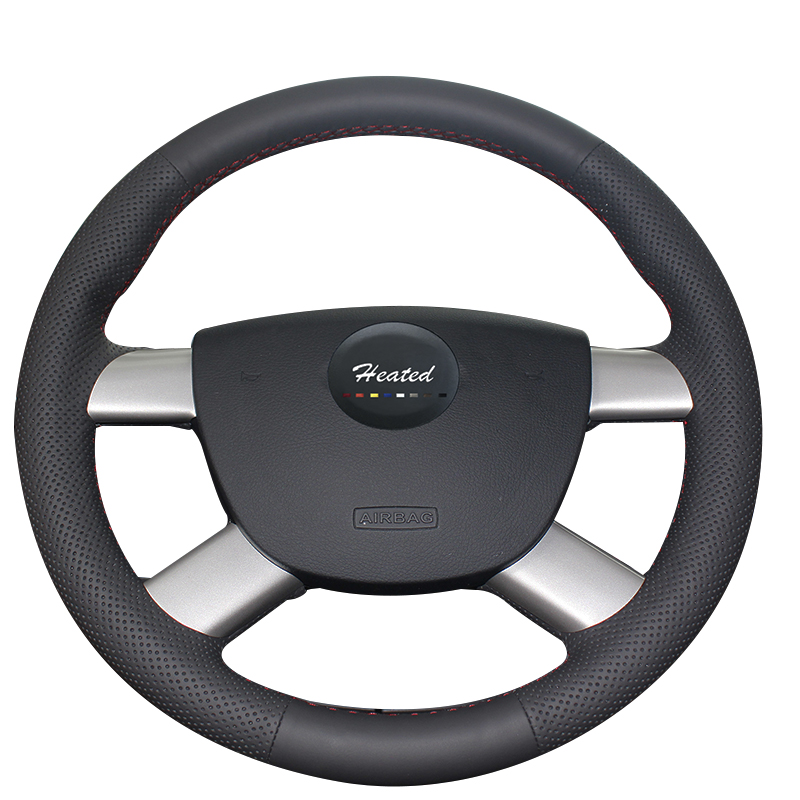 Genuine Leather Steering Wheel Cover for Ford Focus 2 2005-2011 Braid on steering wheel Tampa do volante do carro car styling new 38cm genuine leather auto car steering wheel cover soft anti slip car steering cover black braid with needles and thread