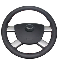 Genuine Leather Steering Wheel Cover for Ford Focus 2 2005 2011 Braid on steering wheel Tampa do volante do carro car styling