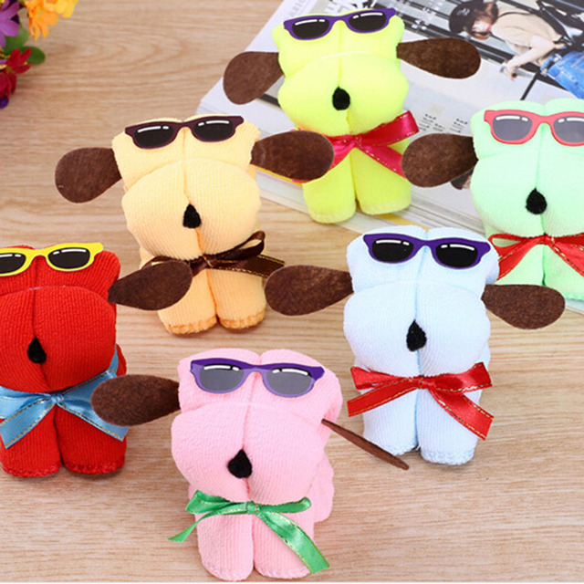 Top Sale Microfiber Towel Dog Cake Shaped + Sun Glasses Towel Cotton Washcloth Wedding Gifts Random Color