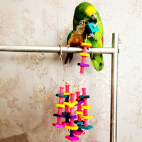 Cute Colorful Pet Parrot Bird Chewing Toys Parrot Macaw Cage Wooden Blocks Swinging Scratcher Pet Bird