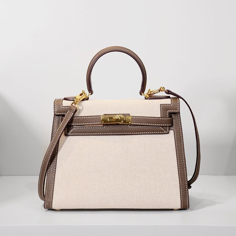 LOEIL Colorblock shoulder bag canvas Kelly bag leather female big lychee contrast color leather handbag good shop 188g