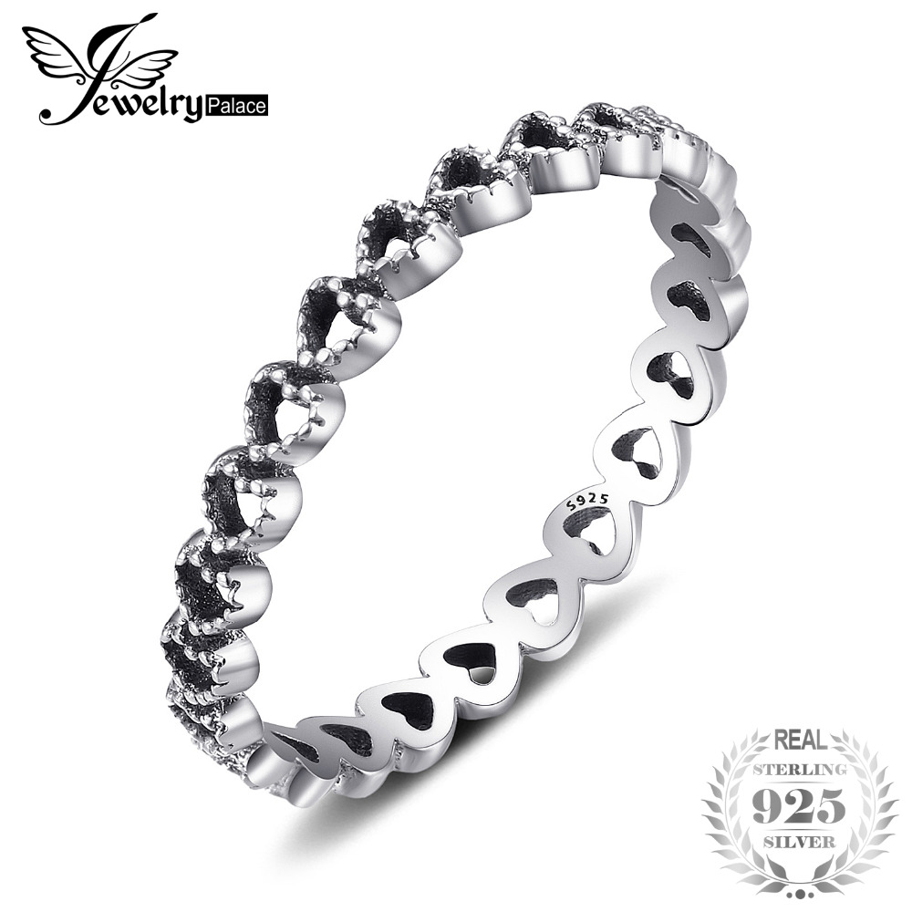 Bild von Jewelrypalace 925 Sterling Silver Chain of Heart Ring Hot Selling Gifts For Girls Fashion Rings New Design Fashion Jewelry