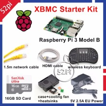 Raspberry Pi 3 Model B XBMC KODI OSMC Starter Kit with 16GB SD Card Wireless Keyboard 5V 2.5A EU/US/UK/AU Power Supply