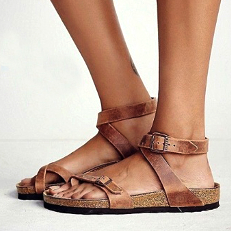 d06c695d2b6 Womens Fashion Cork Sandals Casual Summer Gladiator Buckle Strap ...