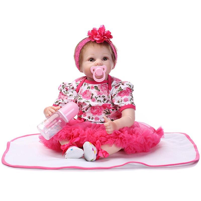 55cm Fashion Reborn Doll Baby Toys Simulation Soft Silicone Newborn Baby Dolls in Dress Kids Playmate Toy Gifts 40cm sotf silicone simulation reborn baby doll kids playmate fashion soft stuffed toys gift accompany toy birthday gifts