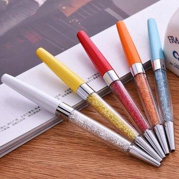2017 new Creative Crystal Pen Diamond Ballpoint Pens Stationery Ballpen Stylus Pen Touch Pen 13 Colors Oily Black Refill 1.0 mm Ballpoint Pens