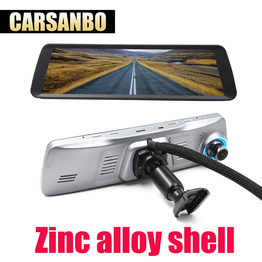 Carsanbo Newst 9.88 inch Screen OEM Dash Cam DVR Car Dual Lens Entirely Screen OEM Rearview Mirror Camera Gesture Control 1080P