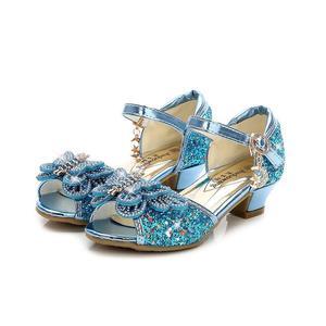 الصيف الفتيات حذاء الأميرة للأطفال حزب صنادل عالية الكعب زهرة الأطفال بريق أحذية من الجلد فراشة عقدة فستان الزفاف