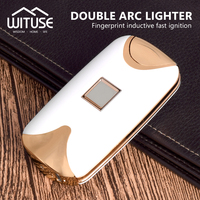 Électrique USB Rechargeable Double Arc Léger Blanc D'empreintes Digitales Coupe-Vent Torche