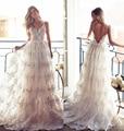 Vintage Beach Wedding Dress Golden Appliques Vestido De Noiva Spaghetti Straps Sexy V-neck Backless Boho Wedding Party Custom
