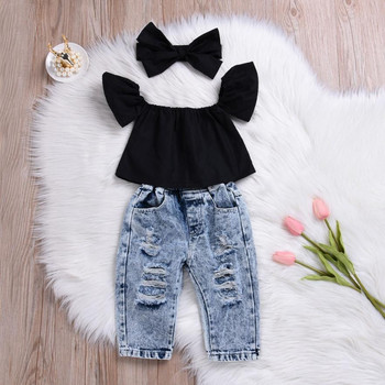 2Pcs Fashion Girls Clothes Set Off Shoulder Tops T-Shirts Denim Pants Ripped Jeans Set Summer Baby Bebes Children Clothing Set 3