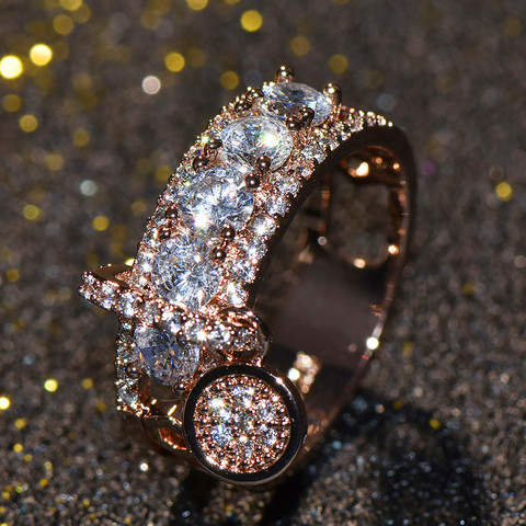 Luxury Female Crystal Zircon Stone Ring Unique Style Fashion Rose Gold Silver Jewelry Vintage Wedding Rings For Men And Women Karachi
