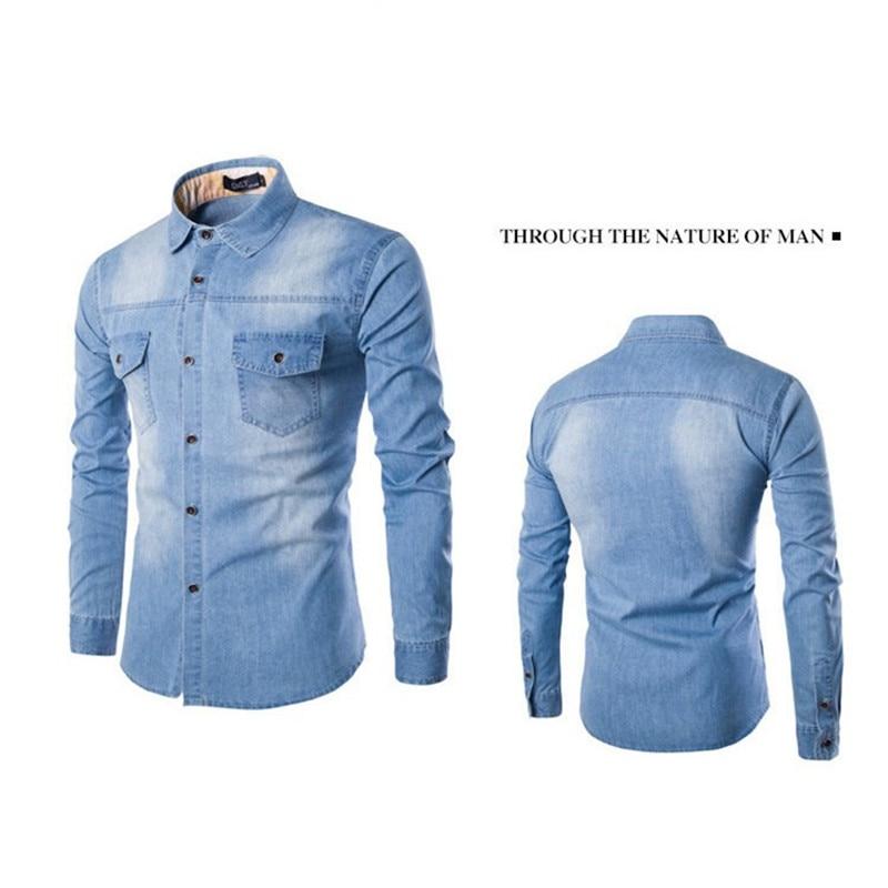Fashion Mens Denim Shirt Long Sleeve Plus Size Cotton Jeans Cardigan Casual Slim Fit Shirts Men Two-pocket Tops Clothing M-6XL 3