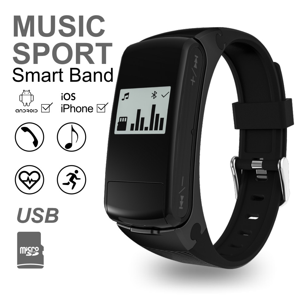 ФОТО Bluetooth 4.0 Headset MP3 Smart Band Passometer Heart Rate Wristband For iOS Android Phone Support SD Card USB Smart Bracelet