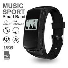 Bluetooth 4.0 гарнитура MP3 Smart Band шагомер сердечного ритма браслет для IOS телефона Android Поддержка SD карты USB Смарт Браслет