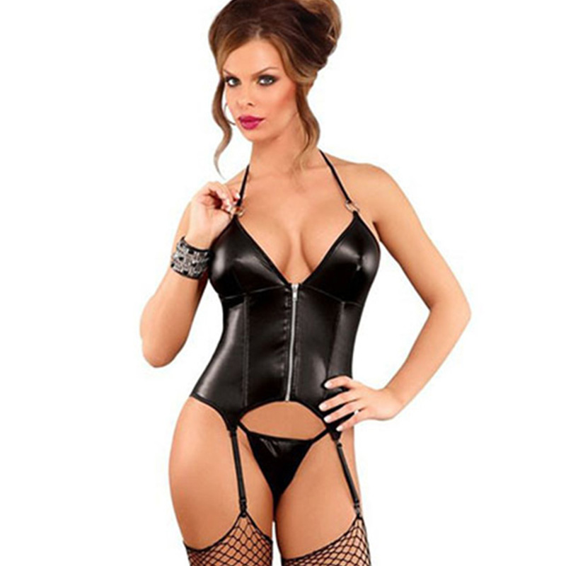 M-XXL Sexy Steampunk Vinyl Leather Halter   Corset   Gothic Women   Bustiers     Corsets   Black Wetlook Zipper Shapewear Burlesque Corselet