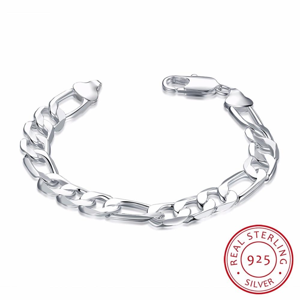 Lekani New Fashion 925 Sterling Silver Bracelet 12mm Wide Men's Figaro Chains 21cm For Men's Women Fine Jewelry Pulseiras