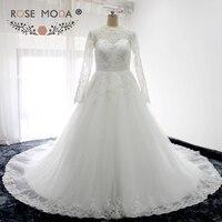 Роза Moda высокое Средства ухода за кожей шеи одежда с длинным рукавом Кружево свадебное платье жемчуг бисером Принцесса Свадебное бальное п