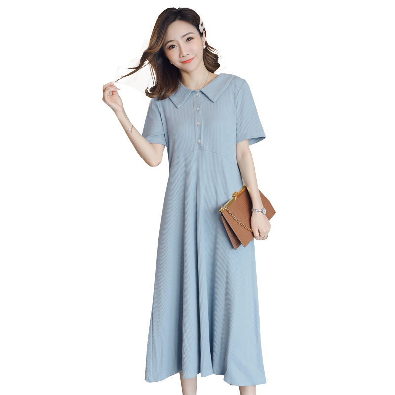 Summer Midi Long Dress for Pregnant Women Plus Size Solid Casual OL Breastfeeding Dresses Maternity Elegant Nursing Clothes New
