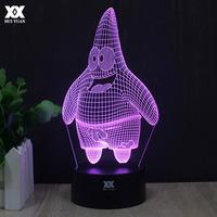 Cartoon Patrick Star 3D Lamp Spongebob Squidward Tentacles Night Light LED Novelty Home Decoration Table Lamp