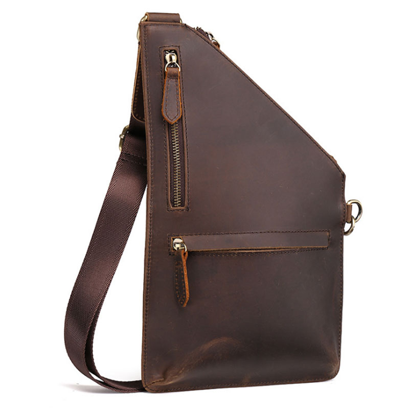 New Men Crazy Horse Genuine Leather Cowhide Vintage Messenger Shoulder Pack Bag Travel Casual Sling Chest Back Day Pack contact s brand 2018 hot genuine crazy horse cowhide leather men messenger bag high quality shoulder bag for vintage travel bag
