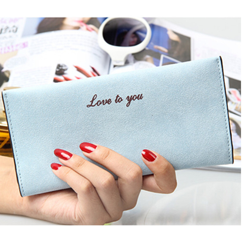 2016 Hot Fashion Women Wallets solid PU famous brand pink Long Wallet Portable Change Purse Casual Lady Cash phone card Purse