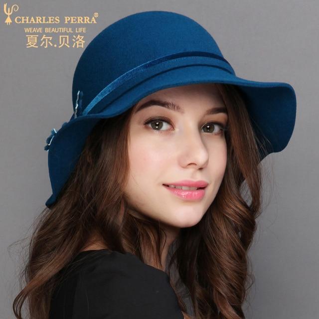 b26fb56cbd3 Charles Perra Women Winter Hat Warm Wool Cap New Fashion Elegant England  Lady Hats Solid Color Female Casual Fedoras 7616