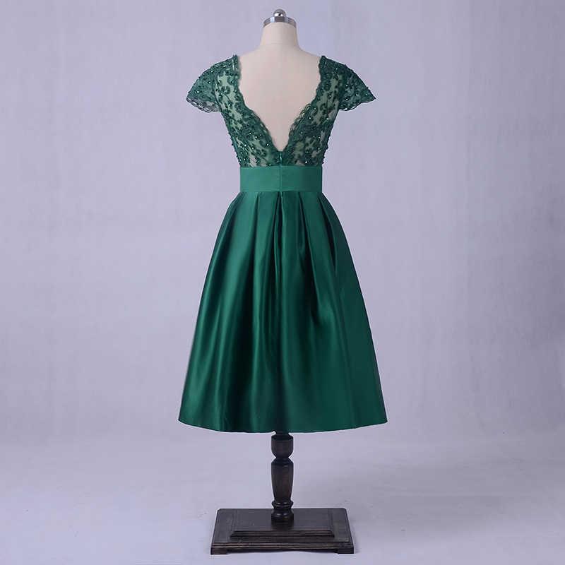 Vestidos de Baile Verde esmeralda 2018 LORIE Backless Elegante vestido de Noite Das Mulheres Vestido de Festa Comprimento Do Joelho Cap Mangas Curtas Beading Topo