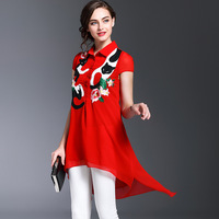 European Short Sleeved Embroidered Shirt Lapel 2017 New Spring Before The Long And Short Elegant Silk
