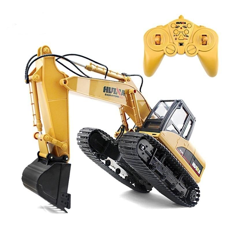 HuiNa 1550 RC voiture sur chenilles 15CH 2.4G 1:14 RC pelle en métal chargeant 1:12 RC voiture avec batterie RC alliage pelle RTR pour les enfants