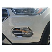 Di alta qualità Auto del corpo anteriore della luce di nebbia della lampada del rivelatore di telaio bastone ABS Bicromato di Potassio della copertura trim parti 2 pz Per Ford kuga 2017 2018 2019