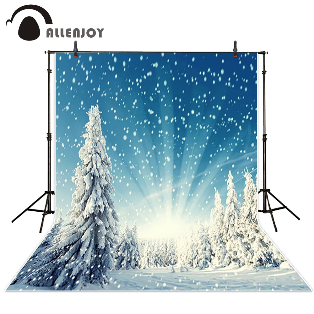 Allenjoy 5*7ft Snow Background Winter Photography Backdrops Christmas Backgrounds Photo Studio Snow Mountain Backdrops CM-6425