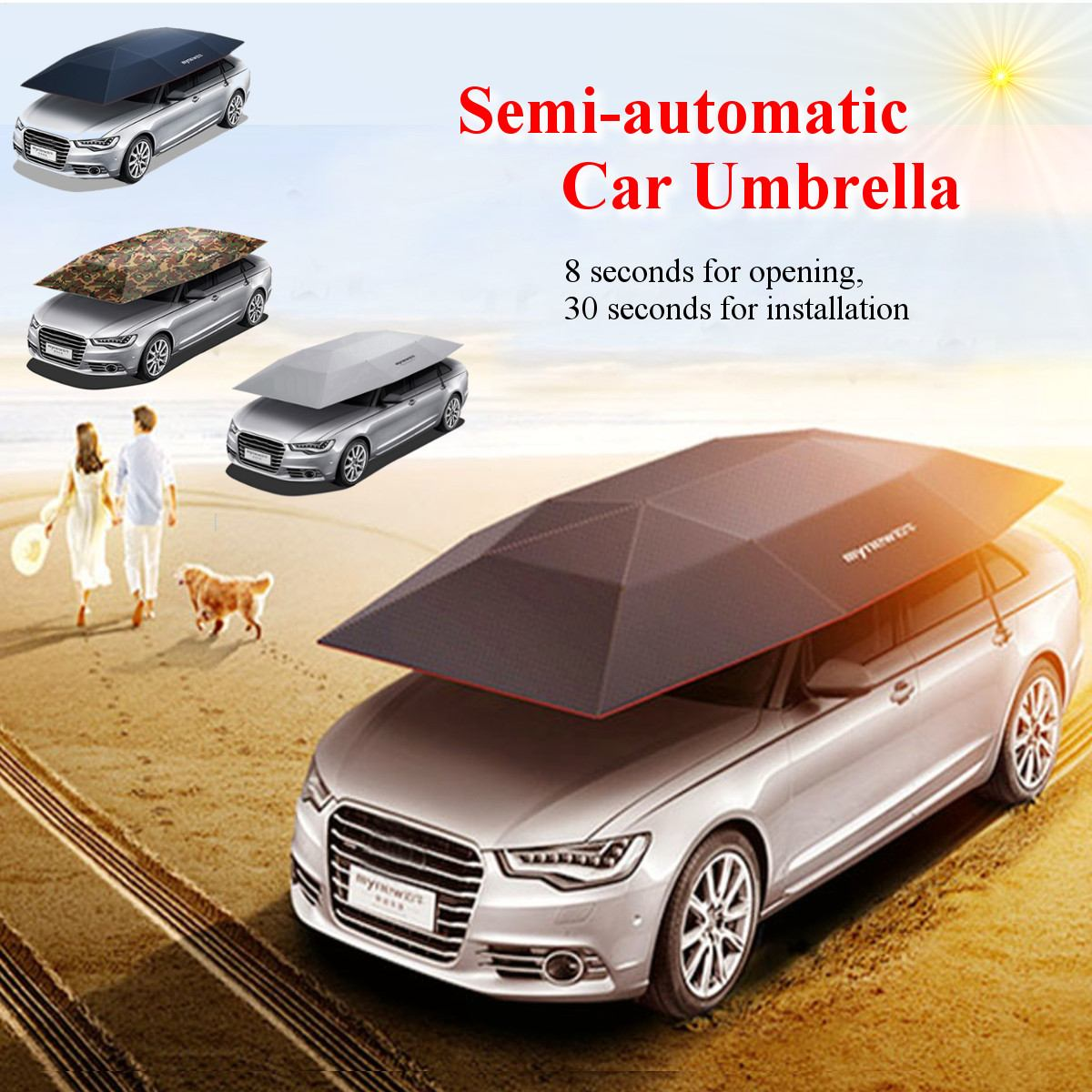 Portable Semi-automatic Car Umbrella Sunshade Roof Cover Outdoor Tent UV ProtectionPortable Semi-automatic Car Umbrella Sunshade Roof Cover Outdoor Tent UV Protection