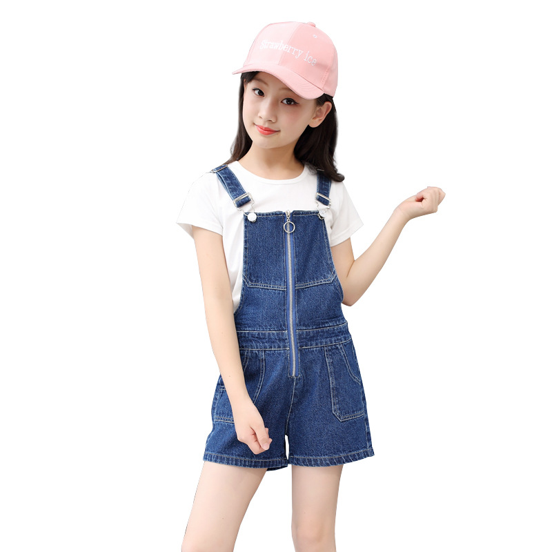 Jeans Jumpsuit For Baby Girls 2018 Summer Harem Pants Denim Trouser Teenage Kids Clothes 3-11t Solid Zipper Fly Loose Overalls outdoor loose fit straight leg multi pocket solid color zipper fly cargo pants for men