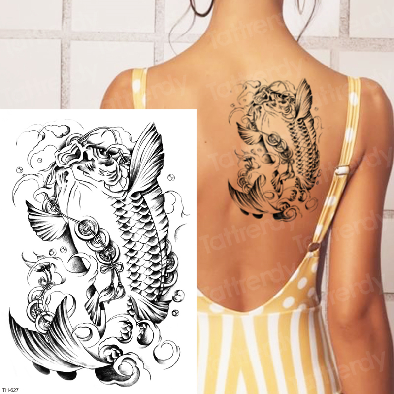 Temporary Tattoo Women Back Arm Sleeve Tattoo Designs For Men Remover Tatoo Fish Mehndi Stickers Scorpion Body Tattoo Decal Big Temporary Tattoos Aliexpress