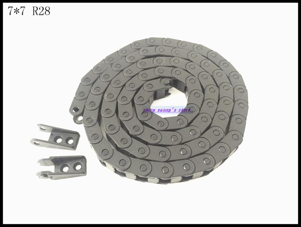 3pcs/lot 7x7mm R28 Cable Drag Chain Wire Carrier with End Connector 7mm x 7mm L1000mm 40 for 3D CNC Router Machine Brand New 1pcs 15x30mm r28 cable drag chain wire carrier with end connector 15mm x 30mm l1000mm 40 for 3d cnc router machine brand new