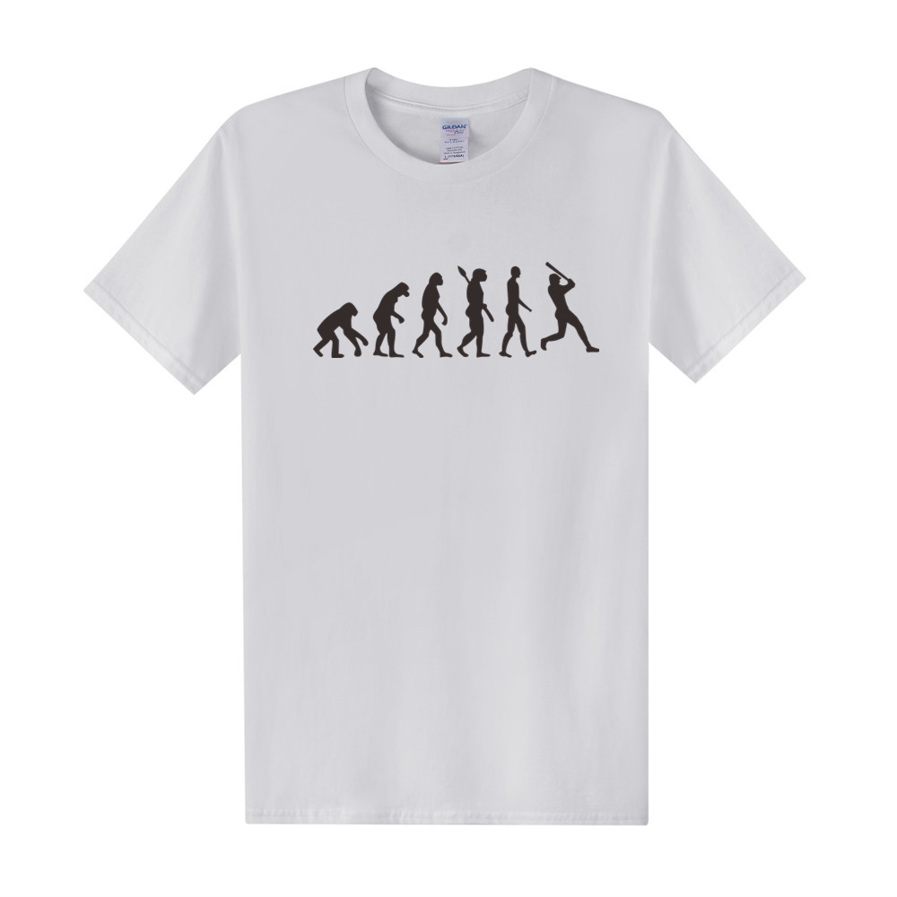 Fashion Evolution Baseball T Shirts Summer Style Men Short Sleeve Cotton T-shirt Funny Evolution Men Clothing Tees Top OT-076